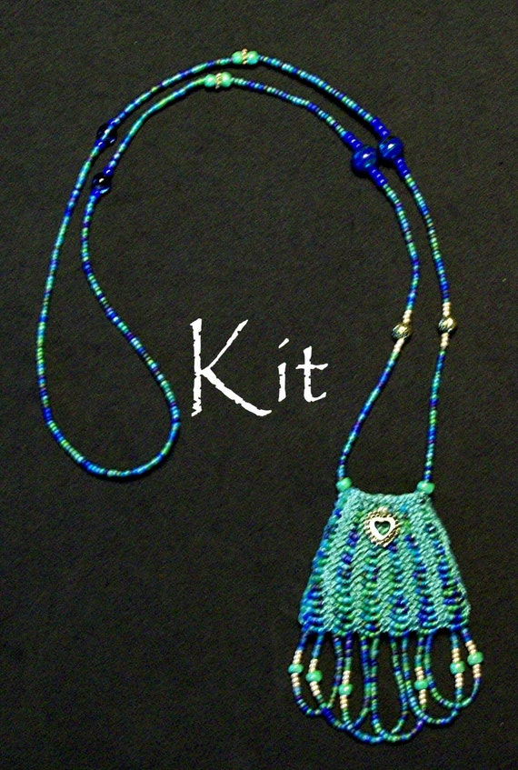 Knitting Jewelry Kits : Paulette kit a beaded knit necklace purse green multi color