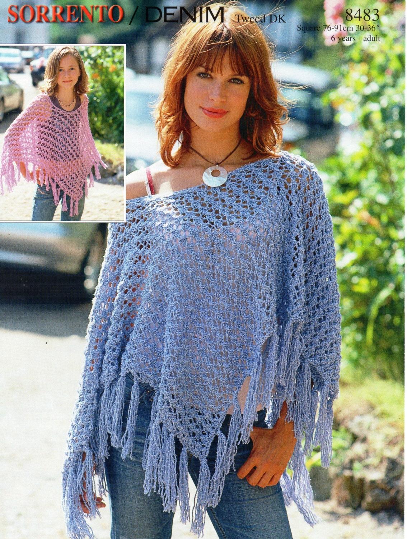 Knitting Pattern Ladies Cape : Womens Knitting Pattern Womens Poncho Girls Poncho Ladies
