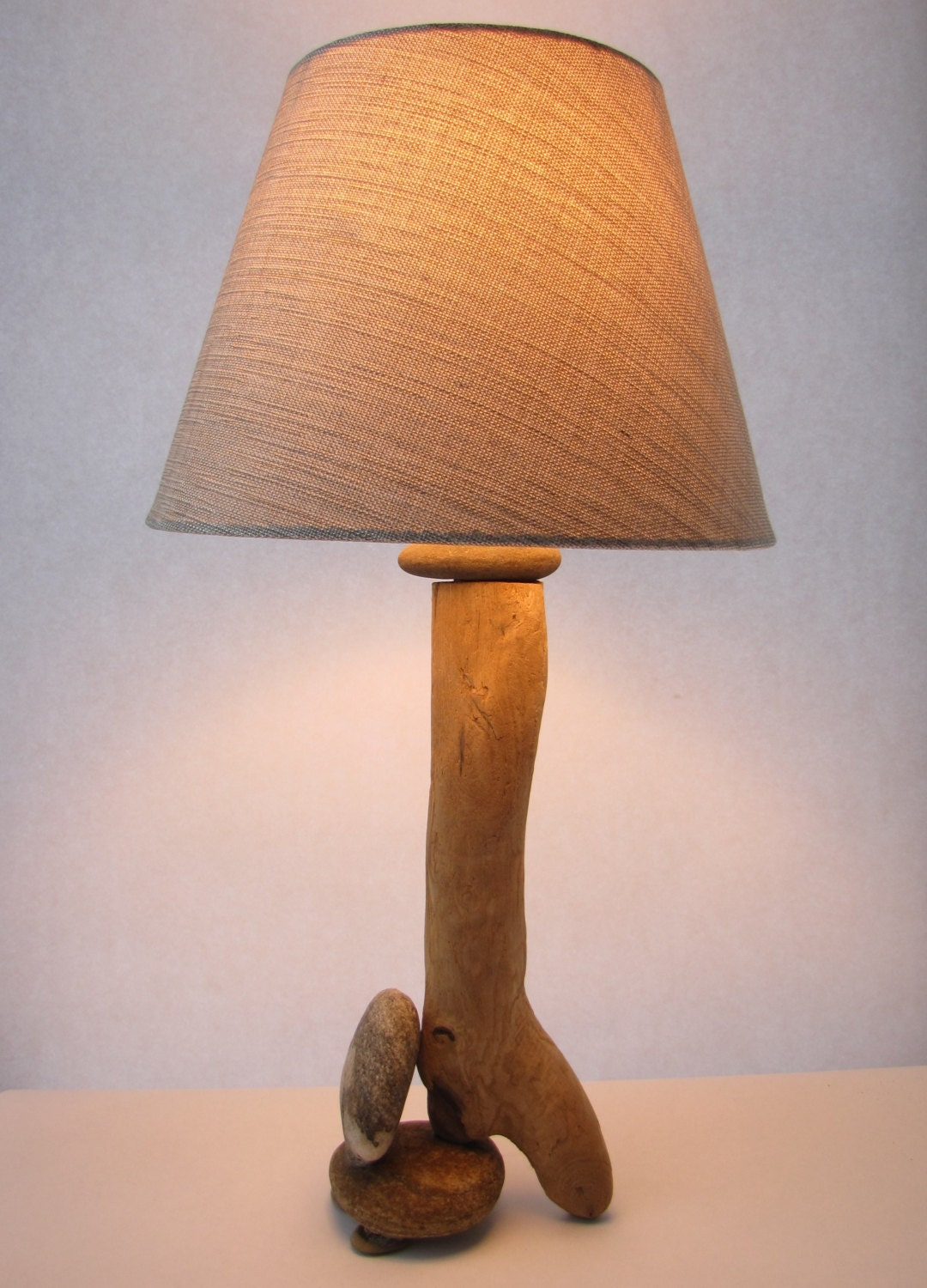 Driftwood rock lamp with shade for Rock lamp