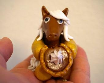 """KushlansCreations """"Pumpkin"""" Standard handmade polymer clay horse sculpture Thanksgiving"""