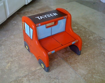 truck step stool, boys step stool, hand painted kids furniture