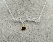 Precious~~~sterling silver 925 Branches necklace with a 24K gilded Bird