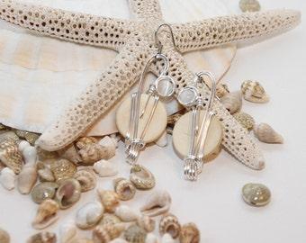 Big White Earrings, White Dangle Earrings, Large White Earrings, White Jewelry, Neutral Jewelry, White Earrings, Light Earrings