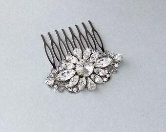 Wedding Hair Comb, Crystal Hair Comb, Swarovski Crystals, Gatsby Hair Comb, Vintage Style, Bridal Headpiece - ABIGAIL