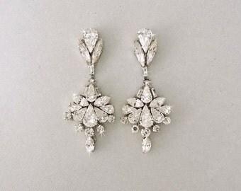 Wedding Earrings - Chandelier Earrings, Bridal Earrings, Vintage Wedding, Crystal Earrings, Swarovski Crystals, Wedding Jewelry - SCARLETTE