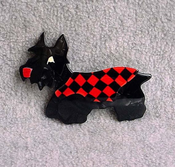 "Lea Stein Scottie Dog Pin Kimdoo Brooch Terrier 3"" Long Signed Paris France Charcoal Black Red Harlequin Coat Celluloid Laminate Vintage 80s"