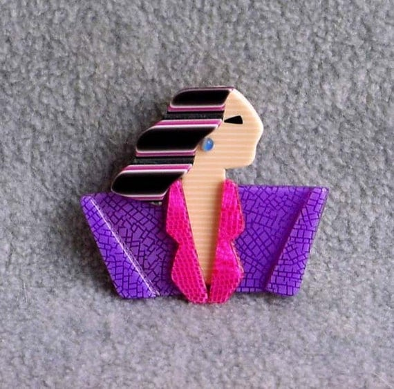 """Lea Stein Carmen Pin Joan Crawford Brooch 2"""" Signed Paris France Lilac Pink Cream Black Hair Celluloid Laminate  Vintage Costume Jewelry"""