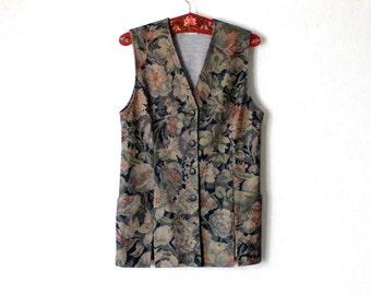 Vintage Vest  Floral Vest Button Up Medium Size Made in Finland