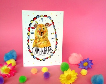 CAMEMBEAR Greetings Card, Fun Cheese Pun Typography, Cute Bear Card,  Blank for all Occassions