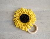 sun flower teether for babies, crochet eco friendly yellow and brown teething toy with natural wooden ring, unique handmade baby shower gift