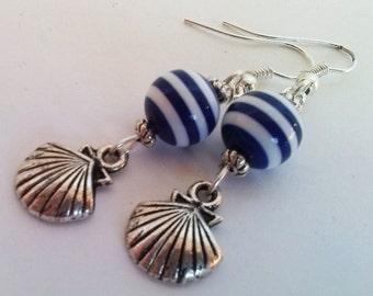 Striped Bead Shell Earrings , Nautical Earrings , Beach Earrings , Shell Earrings , Handmade Jewelry , Handmade Jewellery , Handmade Jewelry