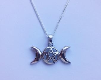 Triple Goddess Pentagram Necklace , Triple Moon Pentagram Necklace , Pentacle Necklace , Pagan Jewelry , Wicca Jewelry , Silver Necklace
