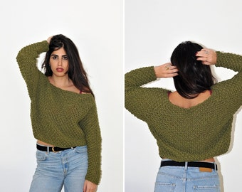Handmade knitted sweater/women top/bottle green/women/accessories/gift ideas/winter