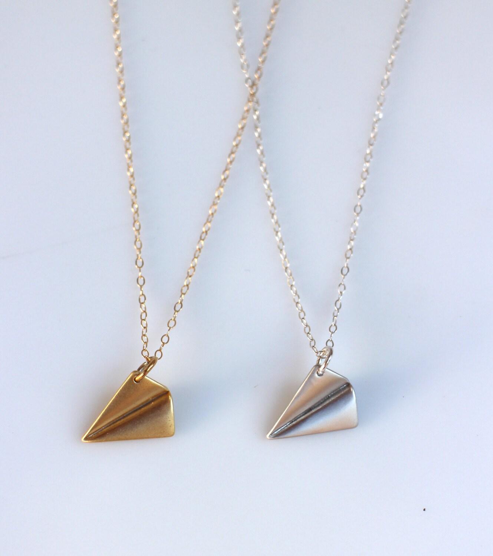 Origami Paper Plane Necklace Aeroplane Pendant Modern