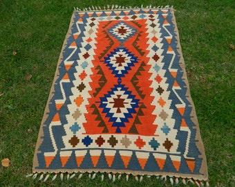 Vintage Turkish Kilim Area Rug Carpet Handwoven Kilim