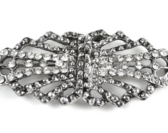 Saber's Art Deco Rhinestone Closure in Gunmetal with Silver Rhinestones Perfect for Coats, Formal Boxes and Invitations