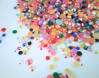 Multicolor Rhinestone Mix of 2mm to 6mm Round Flatbacked Cabochons (600-700 pieces)