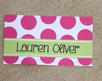 Personalized Calling Cards Stickers Gift Inserts Tags Enclosure Cards, Personal Business Mommy Cards, Pink and Green Polka Dots