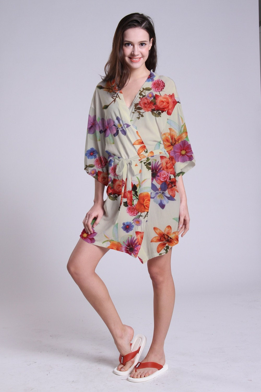 bridesmaid robe short cotton robe not honeymoon shower invitation flowers girl dress floral