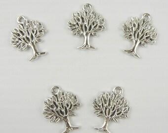 5 Small Tree of Life Charm Silver Tone