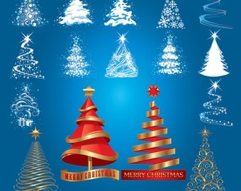 Christmas Tree Digital Clipart Xmas Tree Clip Art Printable Graphics Scrapbooking Invitations Commercial Use INSTANT DOWNLOAD 300 dpi