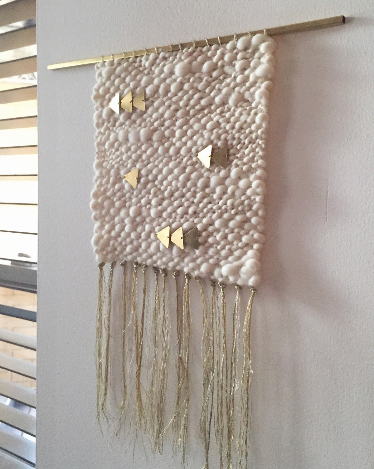 Silver gold cream woven wall hanging weaving by for Wall hanging