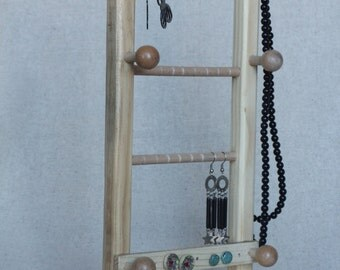 Jewelry Stand Earring Display Jewelry Organizer Jewelry Holder, Wooden stand for earrings, bracelets and necklaces, Pinewood