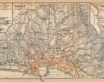 1914 Cannes, France, Mediterranean, French Riviera Antique Map