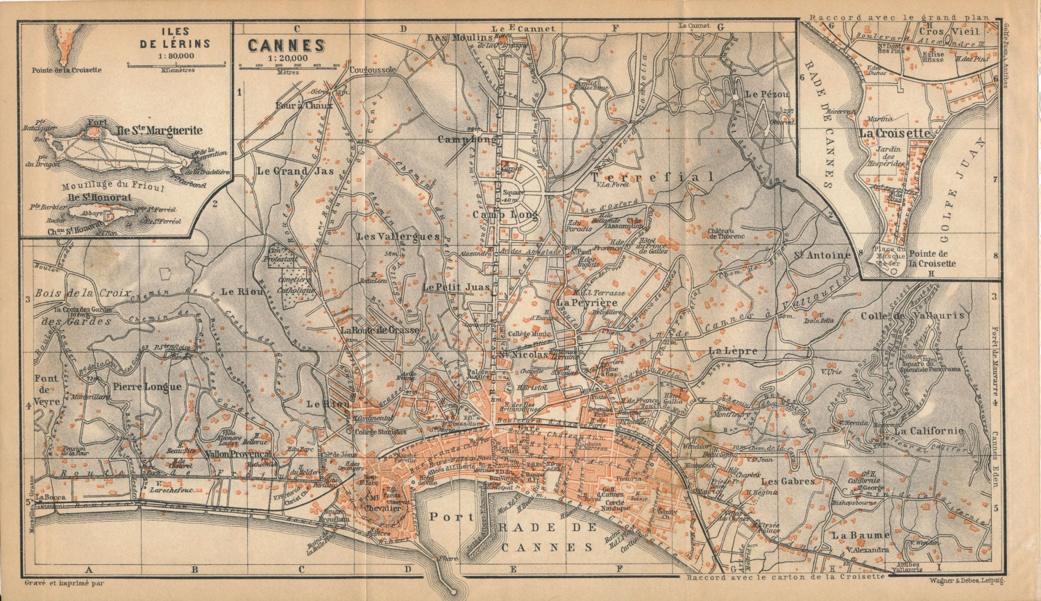 1914 Cannes France Mediterranean French Riviera Antique Map