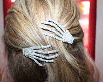 Skeleton Hand Hair Clips * Two Left Hands *