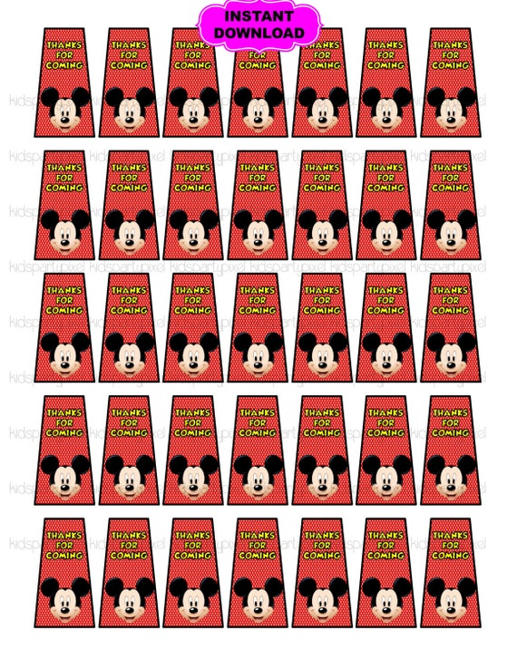 mickey mouse hand sanitizer label birthday party instant. Black Bedroom Furniture Sets. Home Design Ideas