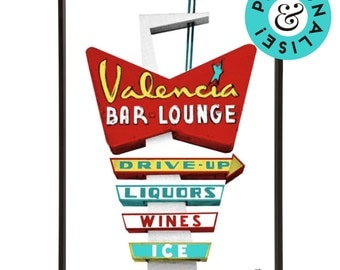 Retro Americana Valencia Motel Sign Pop Art Print