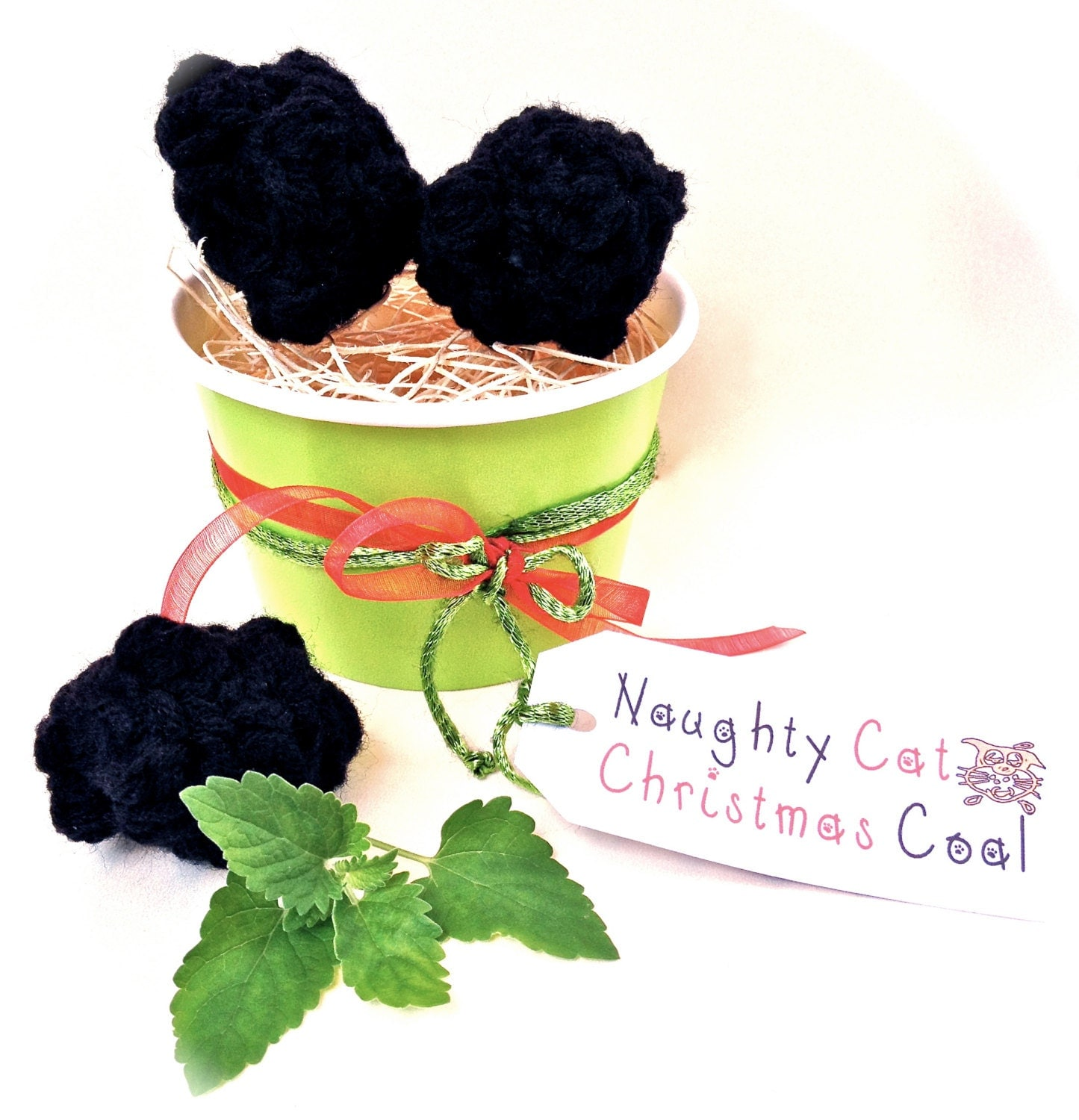 Naughty Cat Christmas Coal Holiday Cat Toy Pet Toy Christmas