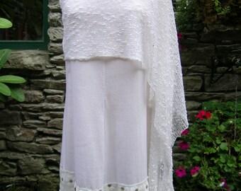White knit shawl / Ethereal / Boho knit shawl