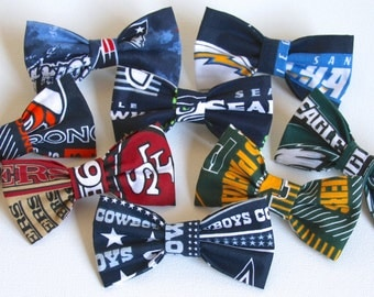 The NFL Bowtie - Seahawks/ 49ers/ Packers/ Broncos/ Chargers/ Eagles/ Patriots/ Cowboys/Steelers/Raiders