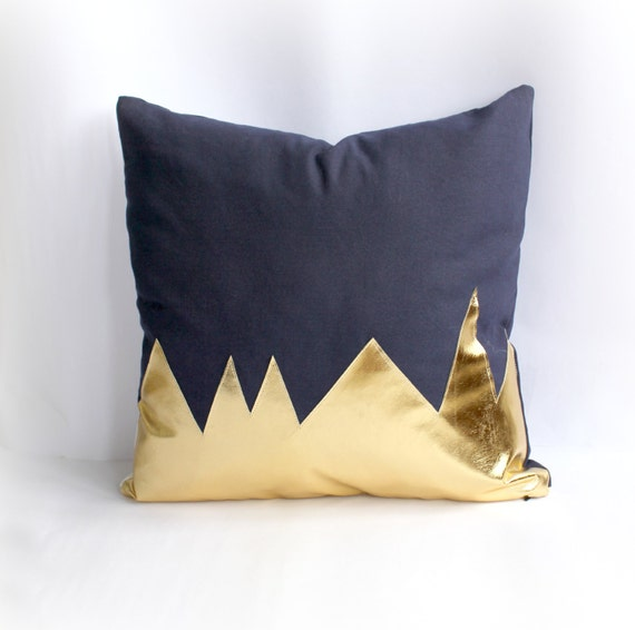 Mountians Navy & Metallic Gold Pillow Cover by northwestdecor
