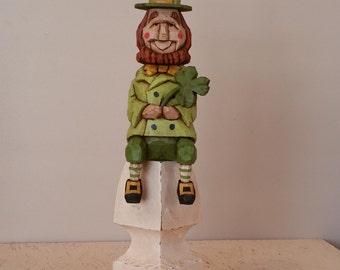 Lucky Leprechaun Primitive Folk Art Woodcarvng