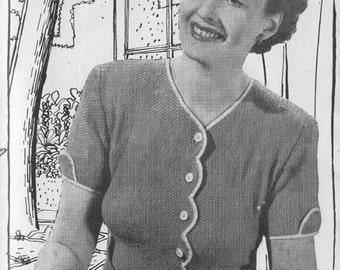 Vintage 1943 Knitting Pattern Ladies Scalloped Cardigan - digital file