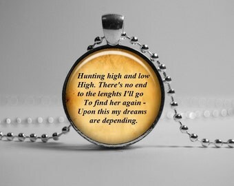 A-HA PENDANT Hunting high and low, A-ha Quote Necklace, Song Lyric Jewelry Romantic Song Lyric Quote Pendant. Gift for Her