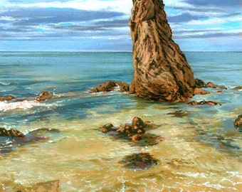 One King, Cullen, Moray. Giclée print of the striking rock formation in Cullen Bay looking out into the North Sea.