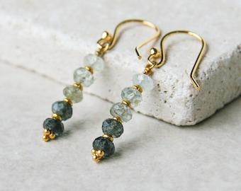 Moss aquamarine earrings | aqua green dangle earrings | march birthstone | ombre earrings