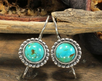Silver Turquoise Earrings, Vintage Style, Drop Earrings, Turquoise Earrings, 925 Sterling Silver, Dainty Round Earrings X901