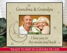 Beige Grandparents Picture Frame, Gift for Grandparents, I Love You to the Moon and Back, Family Gift, Gift for Mom and Dad, 4x6, 5x7