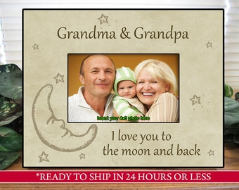 beige grandparents picture frame gift for grandparents i love you to the moon and back family gift gift for mom and dad 4x6 5x7