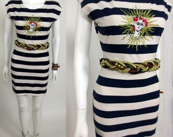 80s Roccobarocco embroidered nautical stripe jersey dress