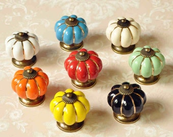 Pumpkin Knobs Dresser Knob Drawer Pulls Handles Knobs/ Ceramic Knobs Cabinet Knobs /Colorful Knob Kitchen Furniture Hardware Antique Bronze