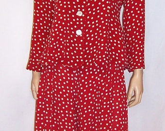 Betsey Johnson-Red and White Polka-Dotted Pant Suit