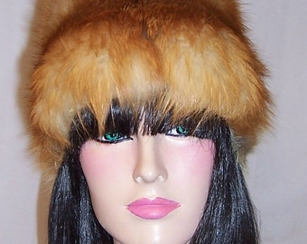 1960's Vintage, Red, White and Gray Fox Fur Hat