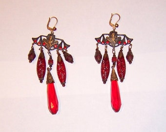 Red and Crimson, Poured Molded Glass Czechoslovakian Dangle Earrings
