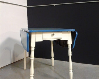 Vintage 1940s Blue Enamel Kitchen Table - Drop Leaf with Little Drawer - Crystal Knob Shabby Cottage Chic